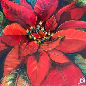 (CreativeWork) Poinsettia by Sue Hill. Acrylic Paint. Shop online at Bluethumb.