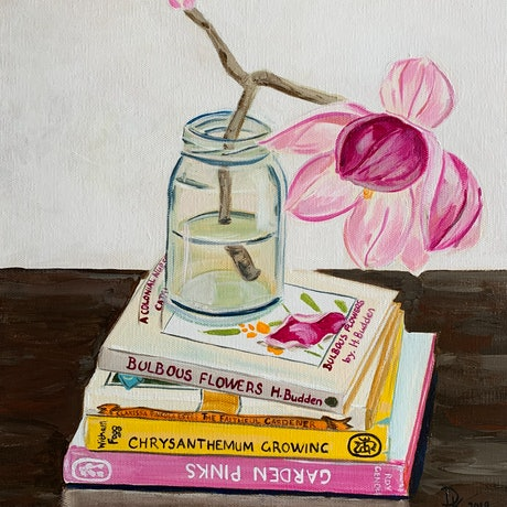 (CreativeWork) Magnolia With Books by Dominika Keller. Acrylic Paint. Shop online at Bluethumb.
