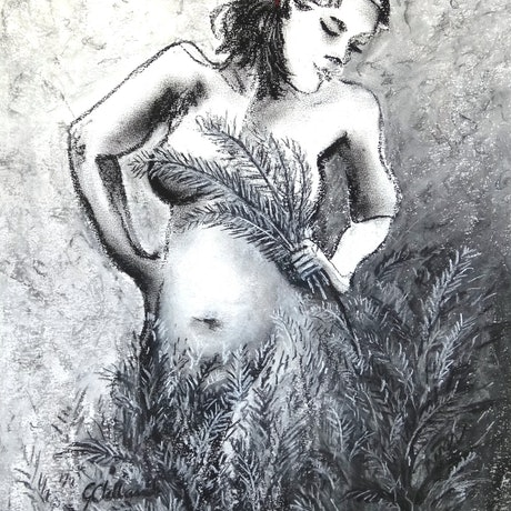 (CreativeWork) Nymph in my Garden  by Glenise Clelland. Drawings. Shop online at Bluethumb.