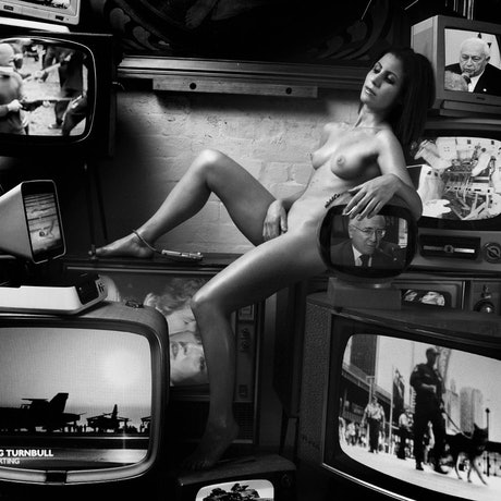 Photograph of nude with political context.