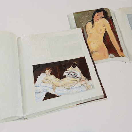 (CreativeWork) Olympia & Female Nude by Li Zhou. Oil Paint. Shop online at Bluethumb.