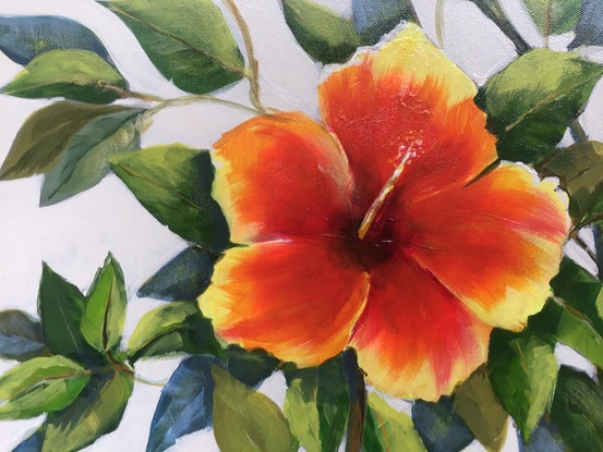 (CreativeWork) Hibiscus in bloom by Ron Brown. Acrylic Paint. Shop online at Bluethumb.