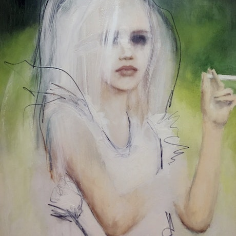 (CreativeWork) Young girl with candy cigarette by Fiona Maclean. Oil Paint. Shop online at Bluethumb.