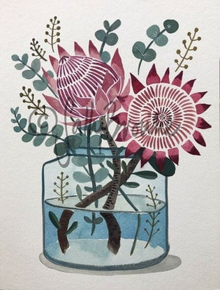 (CreativeWork) Pink Kings in Blue Glass by Sally Browne. Watercolour Paint. Shop online at Bluethumb.