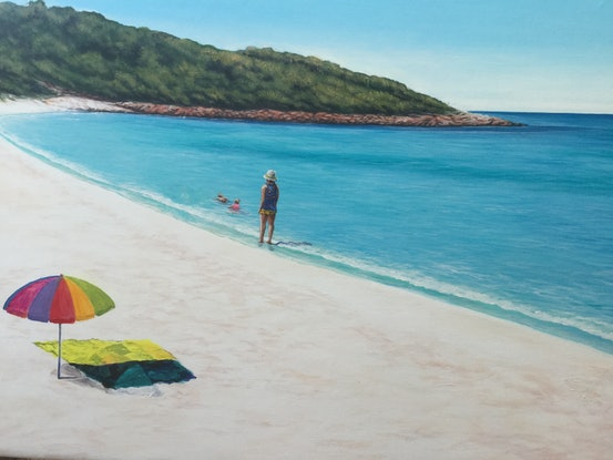 (CreativeWork) Meelup Beach, W.A. by Mark Sinclair. Acrylic Paint. Shop online at Bluethumb.