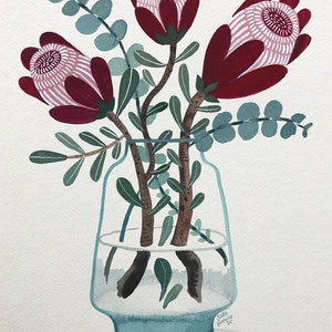 (CreativeWork) Pink Ice Protea and Silver Dollar in Glass by Sally Browne. Watercolour Paint. Shop online at Bluethumb.