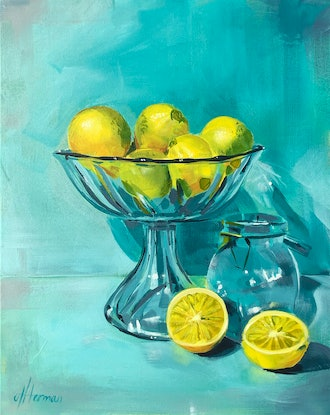 (CreativeWork) Aqua Glass Lemonades by Amy Herman. Acrylic Paint. Shop online at Bluethumb.