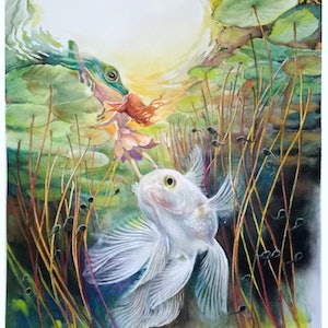 (CreativeWork) TRUE LOVE KISS by Doudou Huang. Watercolour Paint. Shop online at Bluethumb.