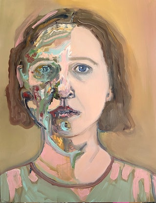 (CreativeWork) Self Portrait - The shape of things to come by Rachel Grove. Oil Paint. Shop online at Bluethumb.