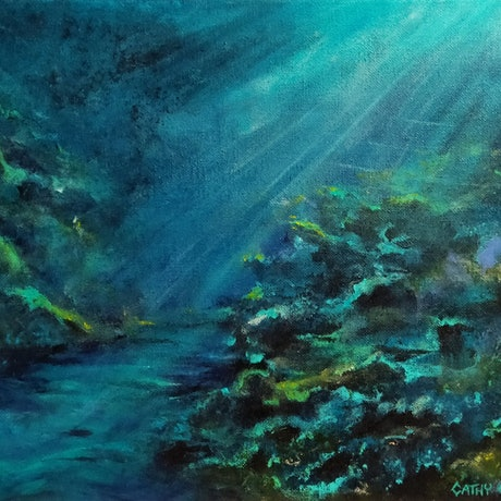 (CreativeWork) Solitude by Cathy Gilday. Acrylic Paint. Shop online at Bluethumb.
