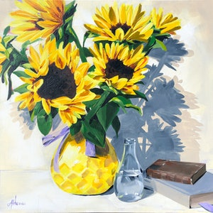 (CreativeWork) Sunflowers by Amy Herman. #<Filter:0x00007f5456434e58>. Shop online at Bluethumb.