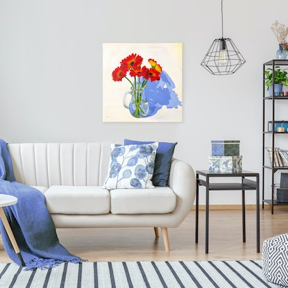 (CreativeWork) Gerberas by Amy Herman. Acrylic Paint. Shop online at Bluethumb.