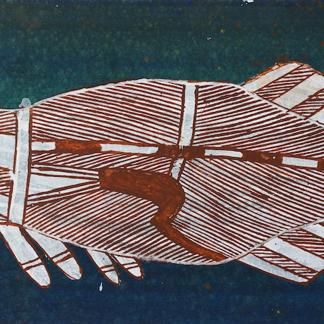 (CreativeWork) Namarnkol (Barramundi) 715-10 by Kalarriya  'Jimmy' Namarnyilk. Acrylic Paint. Shop online at Bluethumb.