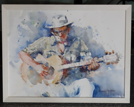 (CreativeWork) Guitar Man by Lorraine Lewitzka. Watercolour Paint. Shop online at Bluethumb.