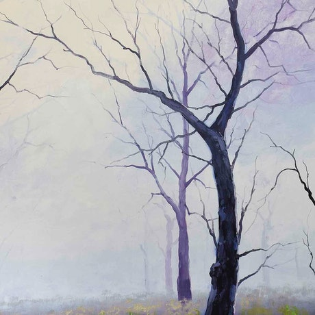 (CreativeWork) Winter trees by Graham Gercken. Oil Paint. Shop online at Bluethumb.