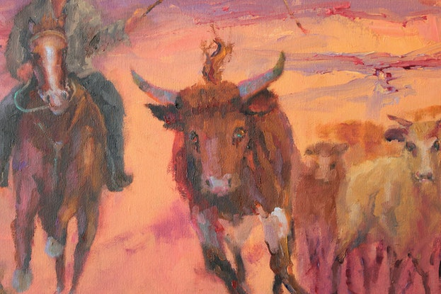 (CreativeWork) 1895 The Runaway -  A STATEMENT AUSTRALIA PAINTING by Marie Green. Oil Paint. Shop online at Bluethumb.