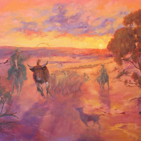 (CreativeWork) 1895 The Runaway -  A STATEMENT AUSTRALIA PAINTING by Marie Green. Oil. Shop online at Bluethumb.