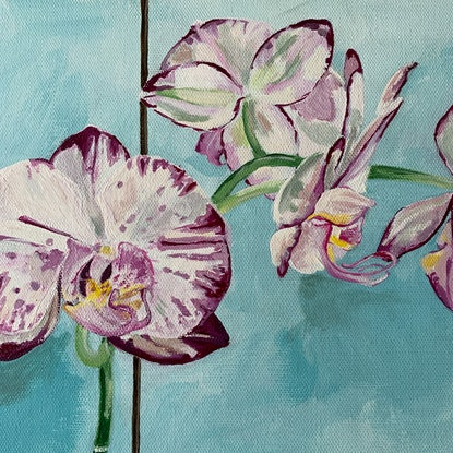 (CreativeWork) Phalaenopsis With Sadler Jug by Dominika Keller. Acrylic Paint. Shop online at Bluethumb.
