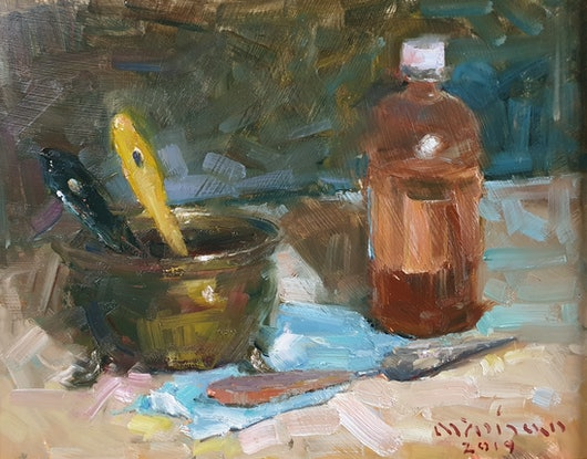(CreativeWork) Still life with artist's gadgets by Minhan Cho. Oil Paint. Shop online at Bluethumb.