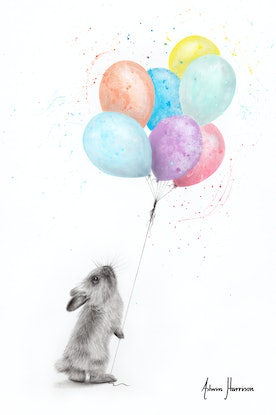 (CreativeWork) The Bunny and The Balloons by Ashvin Harrison. Acrylic Paint. Shop online at Bluethumb.