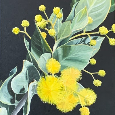 (CreativeWork) Wattle be will be  by Hayley Kruger. Acrylic Paint. Shop online at Bluethumb.