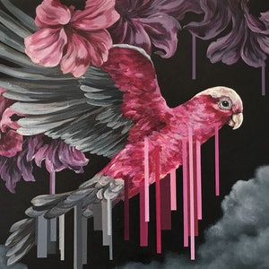 (CreativeWork) Galah by april white. Acrylic Paint. Shop online at Bluethumb.