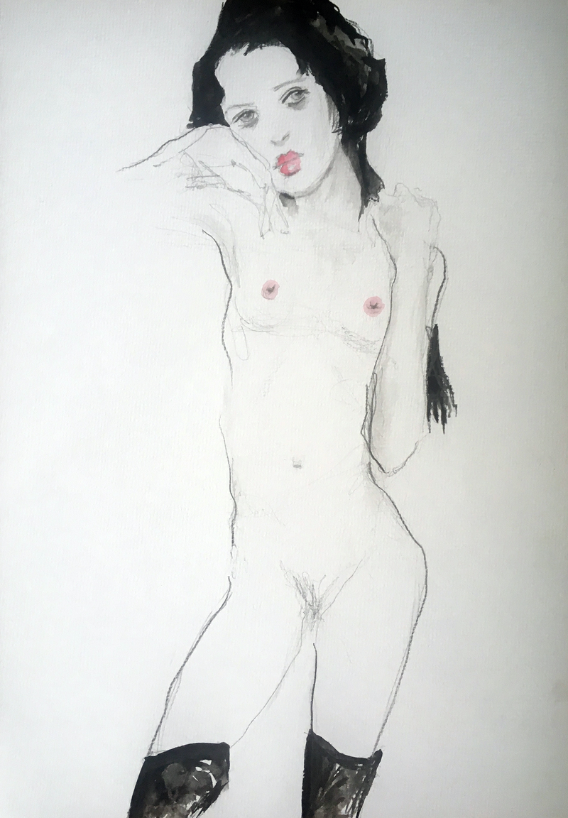 (CreativeWork) My version of Egon Schiele's Girl with Black Hair  by Fiona Maclean. Drawings. Shop online at Bluethumb.