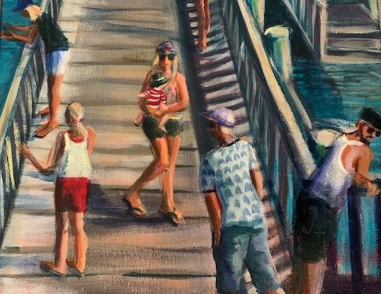 (CreativeWork) On the Jetty by Sue Hill. Acrylic Paint. Shop online at Bluethumb.