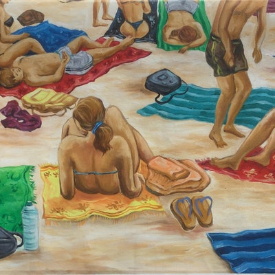 (CreativeWork) Lazing at the beach by Mark Sinclair. #<Filter:0x0000557271e4ebf0>. Shop online at Bluethumb.