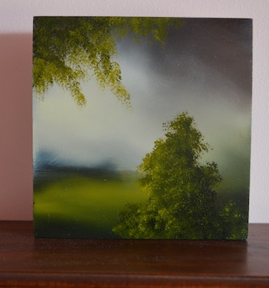(CreativeWork) Shades of Green 1 by Elaine Green. Oil Paint. Shop online at Bluethumb.