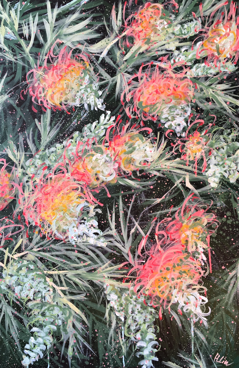 (CreativeWork) Courageous Love - Grevillea by HSIN LIN. Acrylic Paint. Shop online at Bluethumb.