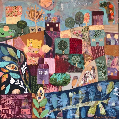 (CreativeWork) Quilter by Sandra Oost. Mixed Media. Shop online at Bluethumb.