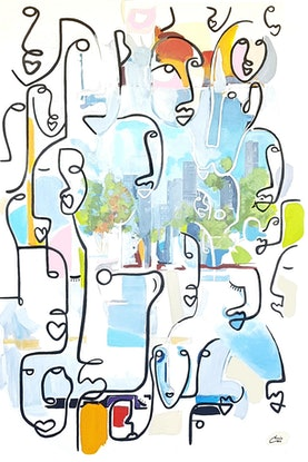 (CreativeWork) Faces Tram Ride by Chris Cox. Acrylic Paint. Shop online at Bluethumb.