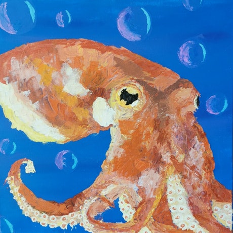 (CreativeWork) Bubbles the Octopus by Samara Wallace. Acrylic Paint. Shop online at Bluethumb.