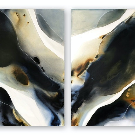 (CreativeWork) Tidal Sands Diptych  by Dinah Wakefield. Acrylic Paint. Shop online at Bluethumb.