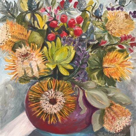 (CreativeWork) Native Still Life in Greg Daley Vase by Jen Schroeder. Oil Paint. Shop online at Bluethumb.