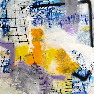 (CreativeWork) Scattered Things by Marisabel Gonzalez. Acrylic Paint. Shop online at Bluethumb.