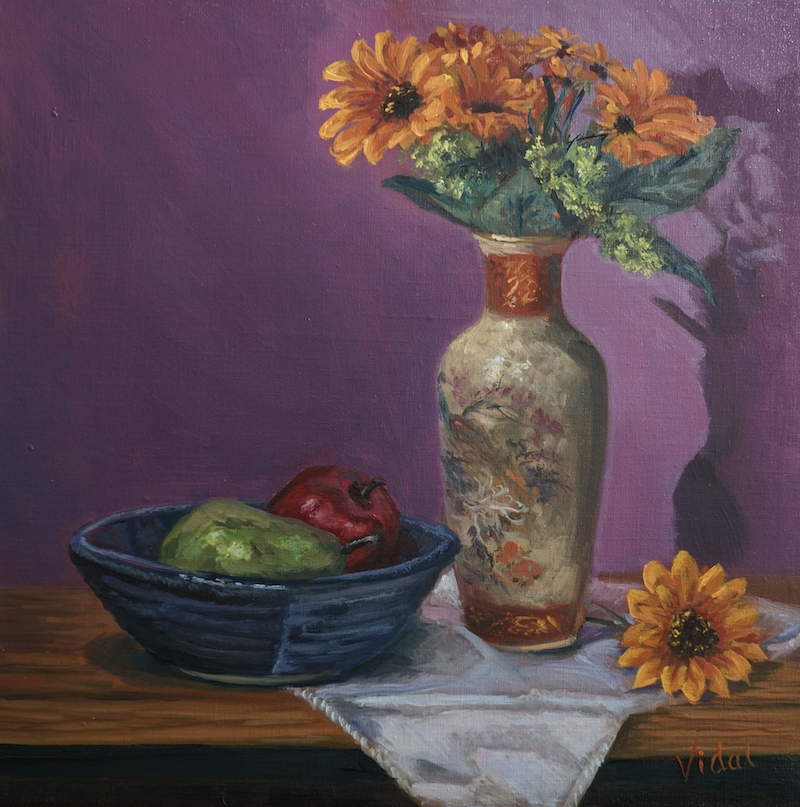 (CreativeWork) Sunflowers - still life  by Christopher Vidal. Oil Paint. Shop online at Bluethumb.