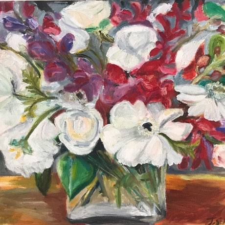 (CreativeWork) Journeyman Flowers by Jen Schroeder. Oil Paint. Shop online at Bluethumb.