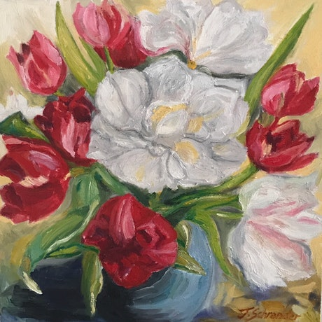 (CreativeWork) Beautiful Tulips by Jen Schroeder. Oil Paint. Shop online at Bluethumb.