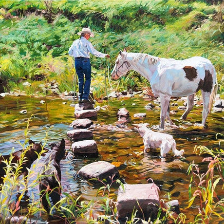 (CreativeWork) Horsewhispering Exercise, Mulla Creek NSW by Leslye Cole. Oil Paint. Shop online at Bluethumb.