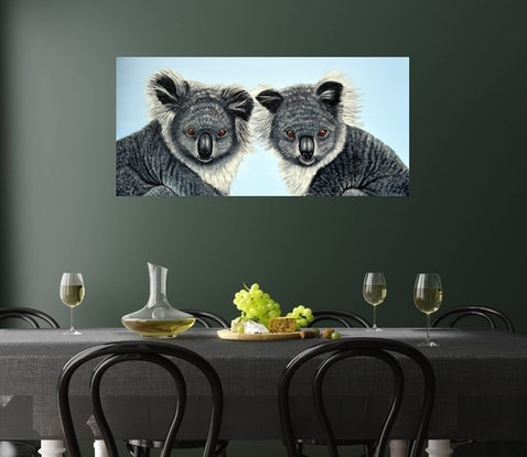 (CreativeWork)  Koalas by Linda Callaghan. Acrylic Paint. Shop online at Bluethumb.