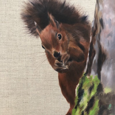 (CreativeWork) Peekaboo too by Mia Laing. Oil Paint. Shop online at Bluethumb.