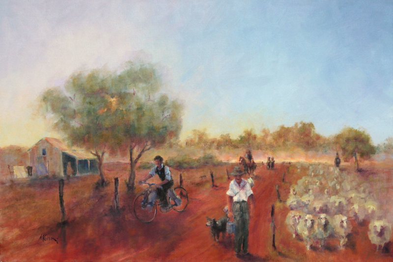 (CreativeWork) 1930 Shearers Arriving   by Marie Green. Oil Paint. Shop online at Bluethumb.