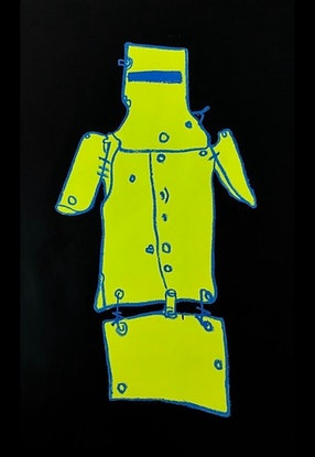 (CreativeWork) Ned Kelly Black  by Shane Bowden. Acrylic Paint. Shop online at Bluethumb.