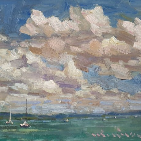 (CreativeWork) Seascape with clouds in Scarborough  by Minhan Cho. Oil Paint. Shop online at Bluethumb.