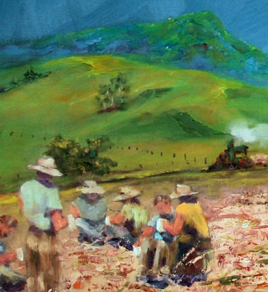 (CreativeWork) 1935 Canecutters by Marie Green. Oil Paint. Shop online at Bluethumb.