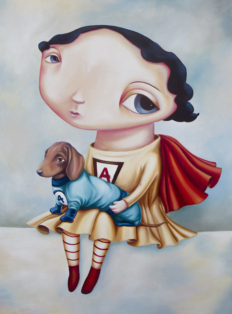 (CreativeWork) Super Self and Cindy by Rachel Favelle. Oil Paint. Shop online at Bluethumb.