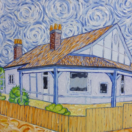 (CreativeWork) 'Esplanade Todd House' by Nicholas Belchamber. Oil Paint. Shop online at Bluethumb.
