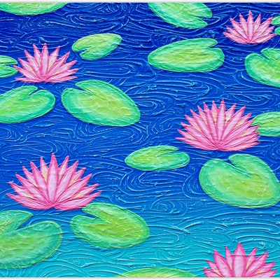 (CreativeWork) Flowers - Water Lilies textured Abstract (special) by Miranda Lloyd. Mixed Media. Shop online at Bluethumb.
